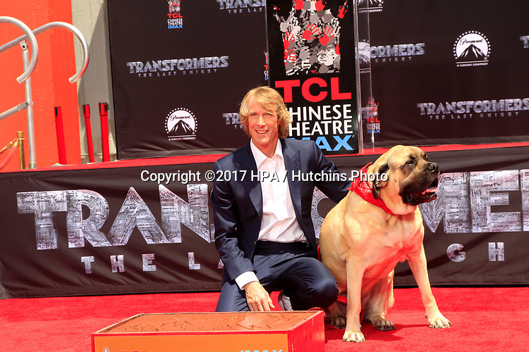 LOS ANGELES - MAY 23:  Michael Bay, Rebel (his dog) at the Michael Bay Hand And Footprint Ceremony at the TCL Chinese Theater IMAX on May 23, 2017 in Los Angeles, CA