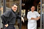 """20081001 - France - Bourgogne - Dijon<br /> JEAN-PIERRE BILLOUX ET SON FILS ALEXIS (LA RELEVE) A LA TETE DU RESTAURANT """"LE PRE AUX CLERCS"""", PLACE DE LA LIBERATION A DIJON.<br /> Ref : BILLOUX_008.jpg - © Philippe Noisette."""