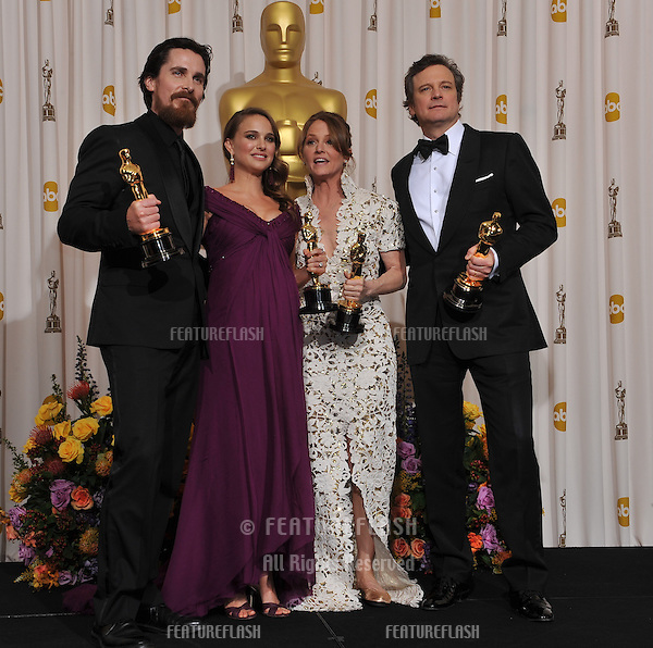 Christian Bale & Natalie Portman & Melissa Leo & Colin Firth at the 83rd Academy Awards at the Kodak Theatre, Hollywood..February 27, 2011  Los Angeles, CA.Picture: Paul Smith / Featureflash.