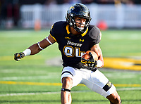 Baltimore, MD - OCT 14, 2017: Towson Tigers wide receiver Shane Leatherbury (84) picks up a first down and more during game between Towson and Richmond at Johnny Unitas Stadium in Baltimore, MD. The Spiders defeated the Tigers 23-3. (Photo by Phil Peters/Media Images International)