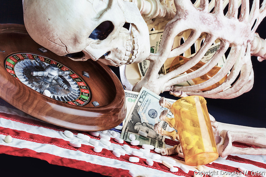 Skeleton illustration drug addiction problem with drugs, gambling, money, prescriptions, pills, flag and backlight.