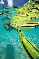 Underwater view of a snorkeler swimming away<br />