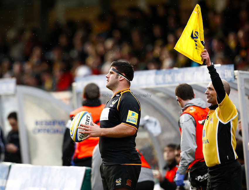 Photo: Richard Lane/Richard Lane Photography. London Wasps v Exeter Chiefs. 12/02/2012. Wasps' Rob Webber.