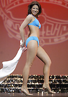 12 July, 2008:    Miss Auburn Cara Rudd shows off her swim attire in the Physical Fitness in Swimsuit competition on stage during the 2008 Miss Washington pageant at the Pantages Theater in Tacoma , Washington.