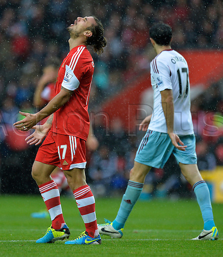 15.09.2013 Southampton, England.  Dani Osvaldo of Southampton shows his frustration after a wonder save from Jussi Jaaskelainen of West Ham during the Premier League game between Southampton and West Ham United from St Mary's Stadium.