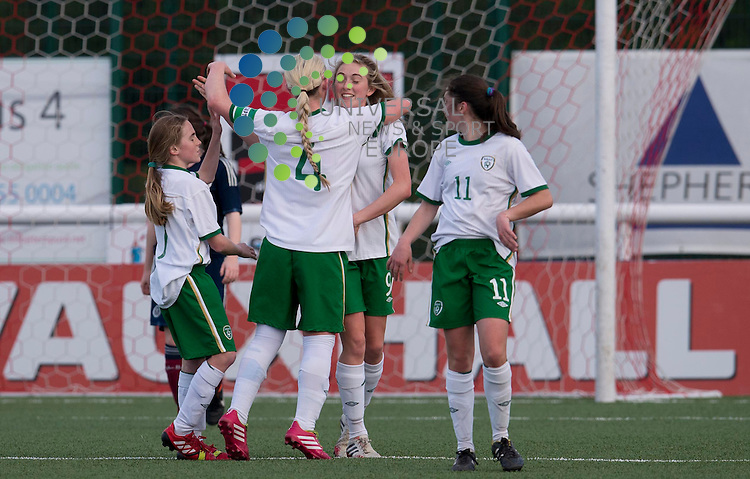 Meagan Connolly of Ireland celebrates her second goal for her team during the Womens Under 17 International Challenge match between Scotland and Republic of Ireland at Ainslie Park, Edinburgh.  16 April 2014. Picture by Ian Sneddon / Universal News and Sport (Scotland). All pictures must be credited to www.universalnewsandsport.com. (Office) 0844 884 51 22.