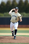 Wake Forest Demon Deacons starting pitcher Colin Peluse (8) in action against the Louisville Cardinals at David F. Couch Ballpark on March 18, 2018 in  Winston-Salem, North Carolina.  The Demon Deacons defeated the Cardinals 6-3.  (Brian Westerholt/Sports On Film)