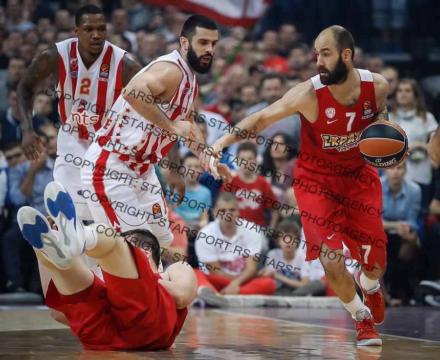 Kosarka Euroleague season 2016-2017<br /> Crvena Zvezda v Olympiacos (Athens)<br /> Vassilis Spanoulis (R) and Branko Lazic<br /> Beograd, 22.03.2017.<br /> foto: Srdjan Stevanovic/Starsportphoto &copy;