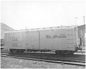 Side view of box car #3468 in yellow paint at Durango.<br /> D&amp;RGW  Durango, CO  1964