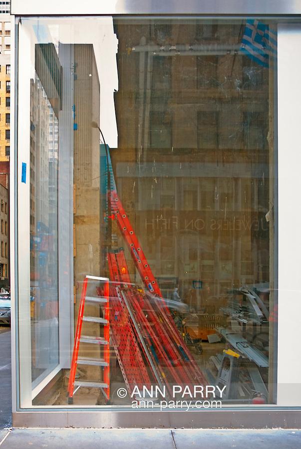Fifth Avenue Corner with view through windows of room under construction, Manhatta, New York City, New York, February 28, 2010.