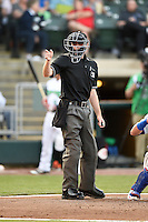 Umpire Brandin Sheeler during a game between the South Bend Cubs and Dayton Dragons on May 11, 2016 at Fifth Third Field in Dayton, Ohio.  South Bend defeated Dayton 2-0.  (Mike Janes/Four Seam Images)
