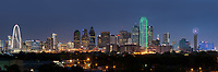 Skyline of Dallas Dusk Pano -  Dallas skyline panorama of the city at dusk with the Margaret Hunt Hill Bridge to the Reuion Tower and Omini hotel with all the usual high rise skyscrapers in the downtown area.
