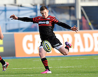 Hendon, England. Nils Mordt © of Saracens in action  during the LV= Cup match for the first professional rugby game on the artificial turf pitch made for rugby between Saracens and Cardiff Blues at Allianz Park Stadium on January 27, 2013 in Hendon, England.