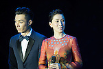 (From second left to the right) Pakho Chau, Charmaine Sheh, Miriam Yeung during the Opening Ceremony of the the World Celebrity Pro-Am 2016 Mission Hills China Golf Tournament on 20 October 2016, in Haikou, China. Photo by Victor Fraile / Power Sport Images