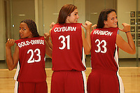 6 October 2005: Rosalyn Gold-Onwude, Morgan Clyburn, and Jillian Harmon on picture day at the Arrillaga Family Sports Center in Stanford, CA.