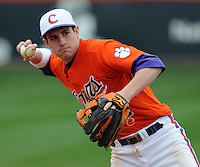 Clemson third baseman John Hinson works on an infield drill prior to a game between the Clemson Tigers and Mercer Bears on Feb. 24, 2008, at Doug Kingsmore Stadium in Clemson, S.C. Photo by: Tom Priddy/Four Seam Images