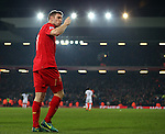 James Milner of Liverpool blows a kiss to the Kop after scoring the second goal during the Premier League match at the Anfield Stadium, Liverpool. Picture date: November 26th, 2016. Pic Simon Bellis/Sportimage