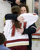 Katelyn Kurth (BC - 14), Courtney Kennedy (BC - Assistant Coach) - The Boston College Eagles and the visiting University of New Hampshire Wildcats played to a scoreless tie in BC's senior game on Saturday, February 19, 2011, at Conte Forum in Chestnut Hill, Massachusetts.