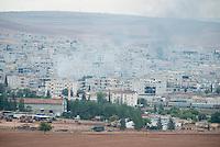 TURKEY, Suruc,10 km away from syrian border and from IS Islamic state besieged town Kobani, turkish tanks  in Mursitpinar  / TUERKEI, Suruc, 10 km entfernt von der syrischen Grenze und der vom IS belagerten Stadt Kobani, Tuerkische Panzer in der tuerkischen Grenzstadt Mürsitpinar