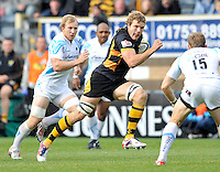 High Wycombe, England. Joe Launchbury of London Wasps man of the match in action during the Aviva Premiership match between London Wasps and Worcester Warriors at Adam Park on October 7, 2012 in High Wycombe, England.