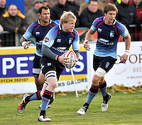 Bedford, England. Don Barrell of Bedford Blues in action during The Championship Bedford Blues vs Newcastle Falcons at Goldington Road  Bedford, England on November 3, 2012