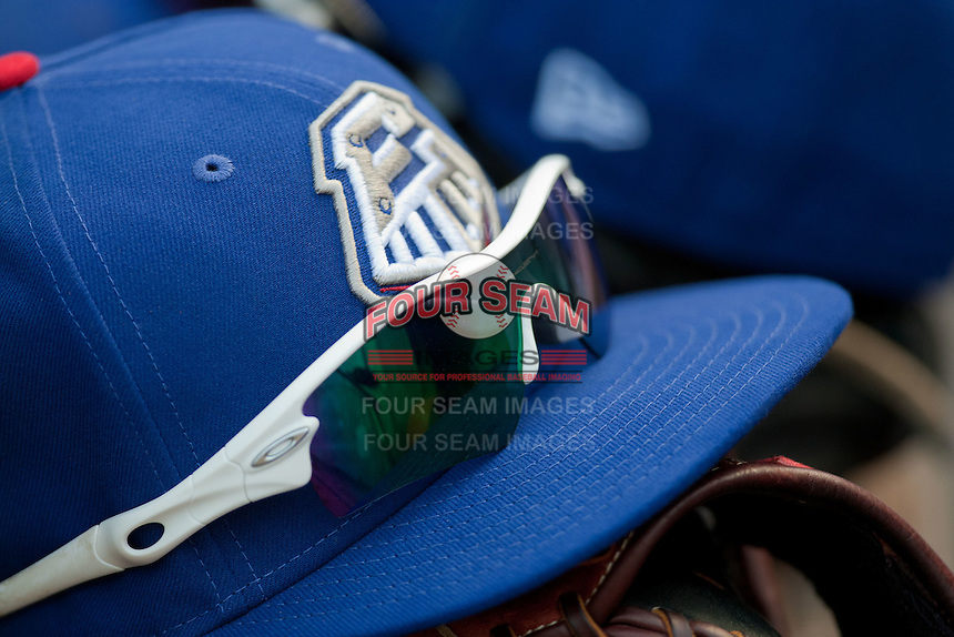 Round Rock Express hat during the MLB exhibition baseball game against the Texas Rangers on April 2, 2012 at the Dell Diamond in Round Rock, Texas. The Rangers out-slugged the Express 10-8. (Andrew Woolley / Four Seam Images)