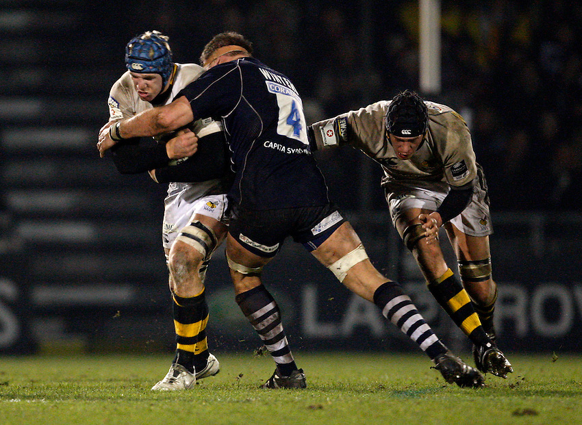 Photo: Richard Lane/Richard Lane Photography..Bristol Rugby v London Wasps. Guinness Premiership. 22/12/2007. .Wasps' James Haskell attacks.