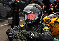 Mar. 9, 2012; Gainesville, FL, USA; NHRA pro stock motorcycle rider Charlie Sullivan during qualifying for the Gatornationals at Auto Plus Raceway at Gainesville. Mandatory Credit: Mark J. Rebilas-