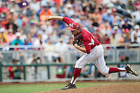 Arkansas Razorbacks pitcher Zach Jackson (32) delivers a pitch to the plate against the Virginia Cavaliers in Game 1 of the NCAA College World Series on June 13, 2015 at TD Ameritrade Park in Omaha, Nebraska. Virginia defeated Arkansas 5-3. (Andrew Woolley/Four Seam Images)