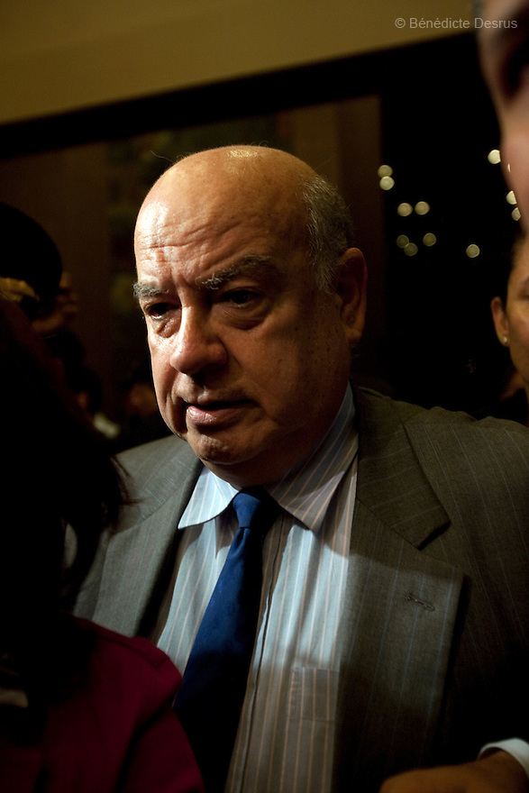 3 July 2009 - Tegucigalpa, Honduras - Jose Miguel Insulza, Secretary General of the Organization of American States during a news conference at a hotel in Tegucigalpa, capital of Honduras. The OAS demands Honduras to restore ousted President Manuel Zelaya, but the country's Supreme Court rejects appeal to restore president Manuel Zelaya and warned he would be arrested if he came home. Photo credit: Benedicte Desrus