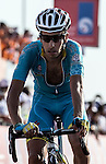Fabio Aru (ITA) Astana crosses the finish line of Stage 3, The Al Ain Stage, of the 2015 Abu Dhabi Tour starting from the Al Qattara Souq in Al Ain and running 129 km to the mountain top finish at Jebel Hafeet at 1025 metres, Abu Dhabi. 10th October 2015.<br /> Picture: ANSA/Angelo Carconi | Newsfile