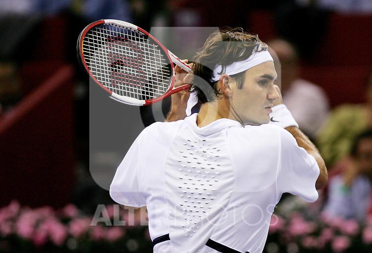 Switzerland's Roger Federer during his Madrid Masters Series tennis tournament match against Chile's Nicolas Massu at Madrid Arena, Tuesday 17 October, 2006. (ALTERPHOTOS/Alvaro Hernandez).