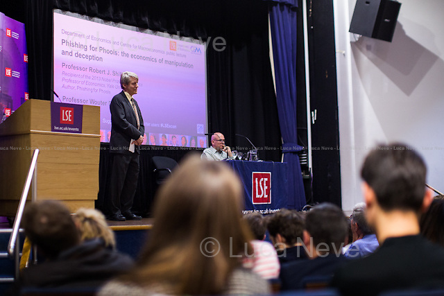 London, 11/11/2015. Today, LSE presented a public lecture - part of the Department of Economics and Centre for Macroeconomics public lecture - called &quot;Phishing for Phools: the economics of manipulation and deception&quot; hosted by the author of the homonymous book (written with George A. Akerlof), Robert J. Shiller (American Nobel Laureate, economist, academic &amp; author; he currently Sterling Professor of Economics at Yale University &amp; he is a fellow at the Yale School of Management's International Center for Finance; he has been a research associate of the National Bureau of Economic Research, NBER, since 1980; he is ranked among the 100 most influential economists of the world; Eugene Fama, Lars Peter Hansen &amp; Shiller jointly received the 2013 Nobel Memorial Prize in Economic Sciences, &quot;for their empirical analysis of asset prices&quot;). Chair of the event was Wouter Den Haan (Professor of Economics at LSE &amp; Co-Director of the Centre for Macroeconomics). From the event online page: &lt;&lt;Ever since Adam Smith, the central teaching of economics has been that free markets provide us with material well-being, as if by an invisible hand. Robert Shiller delivers a fundamental challenge to this insight, arguing that markets harm as well as help us. As long as there is profit to be made, sellers will systematically exploit our psychological weaknesses and our ignorance through manipulation and deception. Rather than being essentially benign and always creating the greater good, markets are inherently filled with tricks and traps and will &quot;phish&quot; us as &quot;phools.&quot; This represents a radically new direction in economics, [&hellip;] It thereby explains a paradox: why, at a time when we are better off than ever before in history, all too many of us are leading lives of quiet desperation. [&hellip;]&gt;&gt;. (http://bit.ly/1WVMGN7)<br />