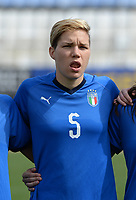 20180302 - LARNACA , CYPRUS : Italian Elena Linari pictured during a women's soccer game between Italy and Wales , on friday 2 March 2018 at GSZ Stadium in Larnaca , Cyprus . This is the second game in group A for Italy and Wales during the Cyprus Womens Cup , a prestigious women soccer tournament as a preparation on the World Cup 2019 qualification duels. PHOTO SPORTPIX.BE | DAVID CATRY