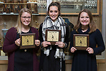November 1, 2017- Tuscola, IL- Warrior Girls Golf award recipients. From left are Lainey Banta (Most Improved), Claire Ring (Warrior Spirit), and Sydney Hoel (MVP). [Photo: Douglas Cottle]