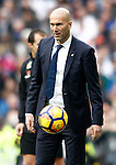 Real Madrid's coach Zinedine Zidane during La Liga match. February 18,2017. (ALTERPHOTOS/Acero)