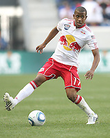 Jeremy Hall #17 of the New York RedBulls pulls in a cross during a MLS match against the Philadelphia Union on April 24 2010, at RedBull Arena, in Harrison, New Jersey.RedBulls won 2-1.