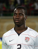 The United States' Gale Agbossoumonde (2)  stands on the field before the match against South Korea during the FIFA Under 20 World Cup Group C match between the United States and South Korea at the Mubarak Stadium on October 02, 2009 in Suez, Egypt.