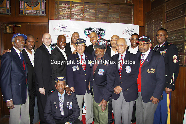 Cast & Tuskegee Airmen - One Year Anniversary production of Off-Broadway's Layon Gray's Black Angels Over Tuskegee on January 29, 2011 at the Actors Temple Theatre, New York City, New York. (Photo by Sue Coflin/Max Photos)