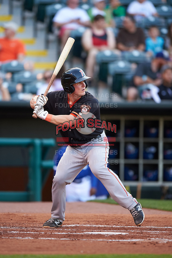 Fresno Grizzles catcher Tyler Heineman (8) at bat during a game against the Oklahoma City Dodgers on June 1, 2015 at Chickasaw Bricktown Ballpark in Oklahoma City, Oklahoma.  Fresno defeated Oklahoma City 14-1.  (Mike Janes/Four Seam Images)
