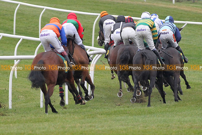 THe field in racing action in the Huge Prize Money At Fakenham 26th October Novices Hurdle - Horse Racing at Fakenham Racecourse, Norfolk - 19/10/12 - MANDATORY CREDIT: Gavin Ellis/TGSPHOTO - Self billing applies where appropriate - 0845 094 6026 - contact@tgsphoto.co.uk - NO UNPAID USE