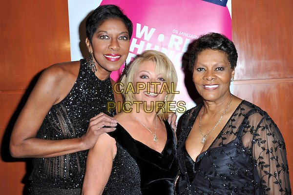 NATALIE COLE, ELAINE PAIGE &amp; DIONNE WARWICK <br /> attends The Hunger Project Concert after party as part of World Hunger Day 2011 at the Park Plaza Hotel in London, England, UK, January 9th, 2011.<br /> half length black sleeveless dress velvet tall short beaded sparkly <br /> CAP/MAR<br /> &not;&copy; Martin Harris/Capital Pictures