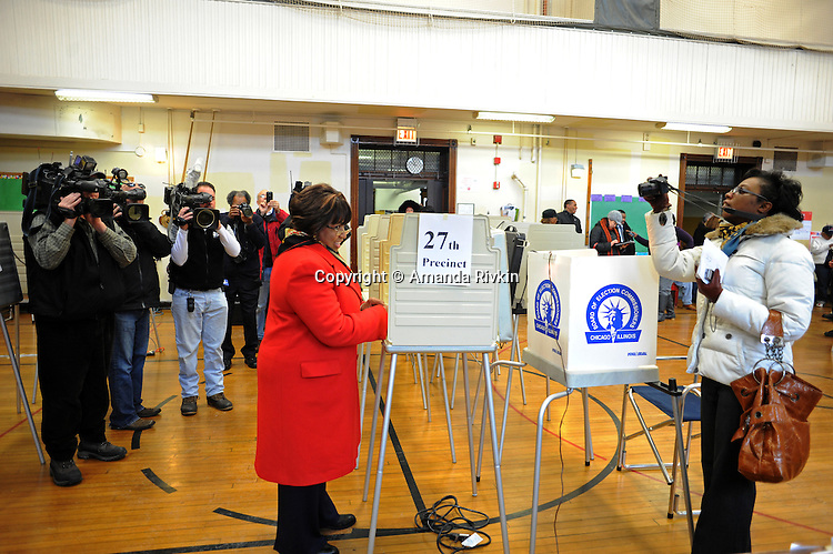 Candidate Carol Moseley Braun, a former U.S. Senator and Ambassador to New Zealand, votes at Ray School in Hyde Park in the Chicago mayoral elections in Chicago, Illinois on February 22, 2011.