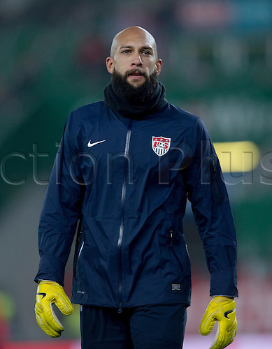 19.11.2013. Vienna, Austria.  USA's goalkeeper Tim Howard  seen during the international soccer friendly match between Austria and USA at Ernst-Happel Stadium in Vienna, Austria, 19 November 2013.