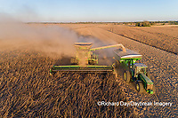 63801-13320 Harvesting soybeans and unloading into grain cart in fall-aerial  Marion Co. IL