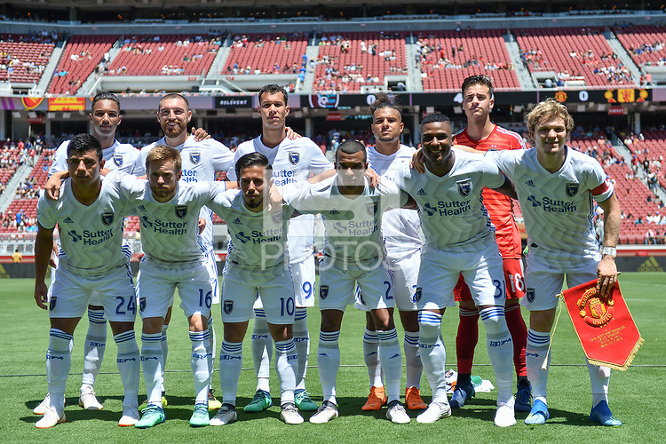 Santa Clara, CA - Sunday July 22, 2018: San Jose Earthquakes Starting Eleven during a friendly match between the San Jose Earthquakes and Manchester United FC at Levi's Stadium.