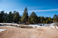 The intersection of Pinewood Drive and Chipmunk Drive directly adjacent to the border between Pinewoods Springs and the Arapahoe-Roosevelt National Forest in Pinewood Springs, Colorado, Wednesday, February 1, 2012. National Forests in Colorado could, under rule making now going on in the Obama administration, have much reduced protections from development than the rest of the nation under the so-called roadless rules, proposed in the Clinton administration, and recently vindicated by a federal appeals panel...Photo by Matt Nager