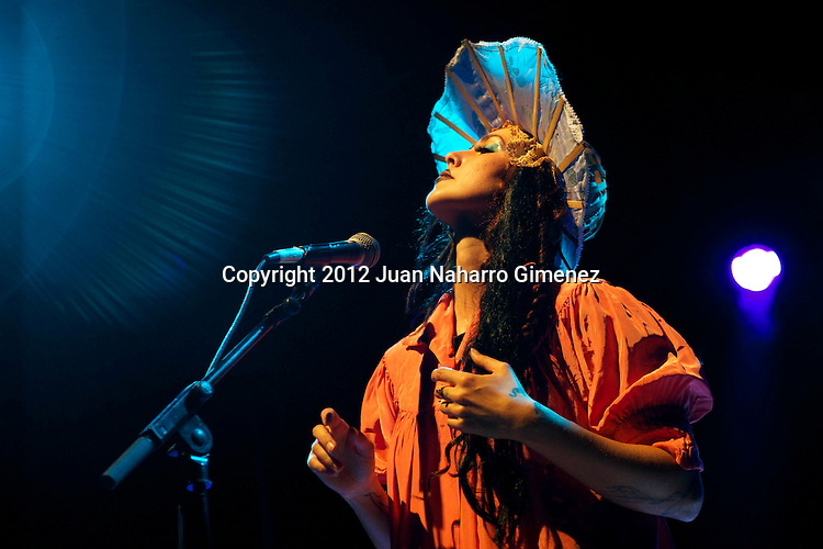 "MADRID, SPAIN - JULY 18:  Singer Bianca Casady of the band CocoRosie performs on stage during ""Veranos de la Villa 2012"" at Teatro Circo Price on July 18, 2012 in Madrid, Spain.  (Photo by Juan Naharro Gimenez)"