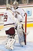 Brad Barone (BC - 29), Parker Milner (BC - 35) - The Boston College Eagles defeated the visiting Boston University Terriers 5-2 on Saturday, December 1, 2012, at Kelley Rink in Conte Forum in Chestnut Hill, Massachusetts.