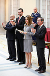 Prince Felipe of Spain and Princess Letizia of Spain attend the National Awards of Culture 2011 and 2012 at Palacio de El Pardo. February 19, 2013. (ALTERPHOTOS/Caro Marin)